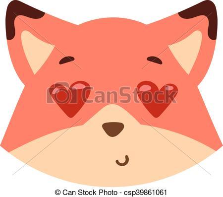 450x397 Animal Emotion Avatar Vector Icon. Cute Animal Fox Head Emotion