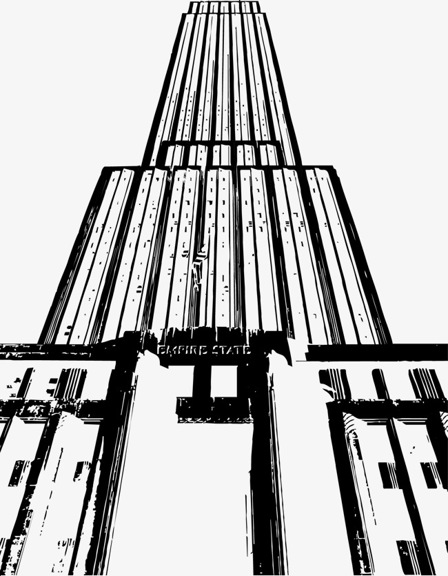 650x835 Empire State Building In New York Painted Vector Pen, Building