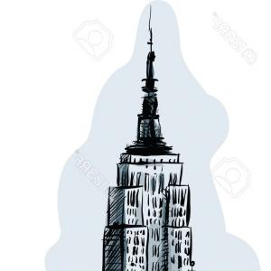300x300 Empire State Building Vector Line Icon Sign Illustration On