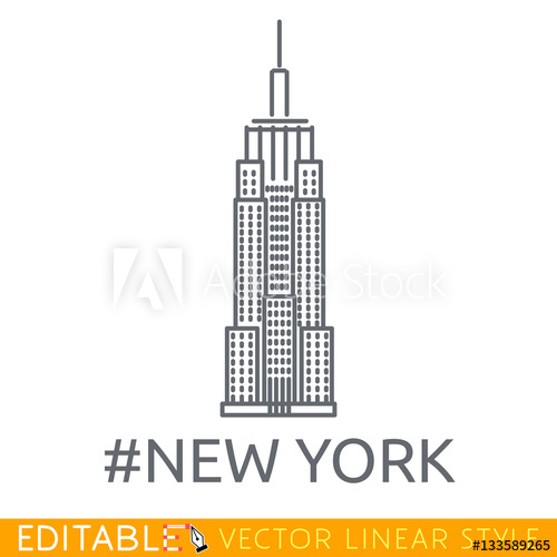 500x500 New York City Empire State Building. Editable Line Icon. Stock