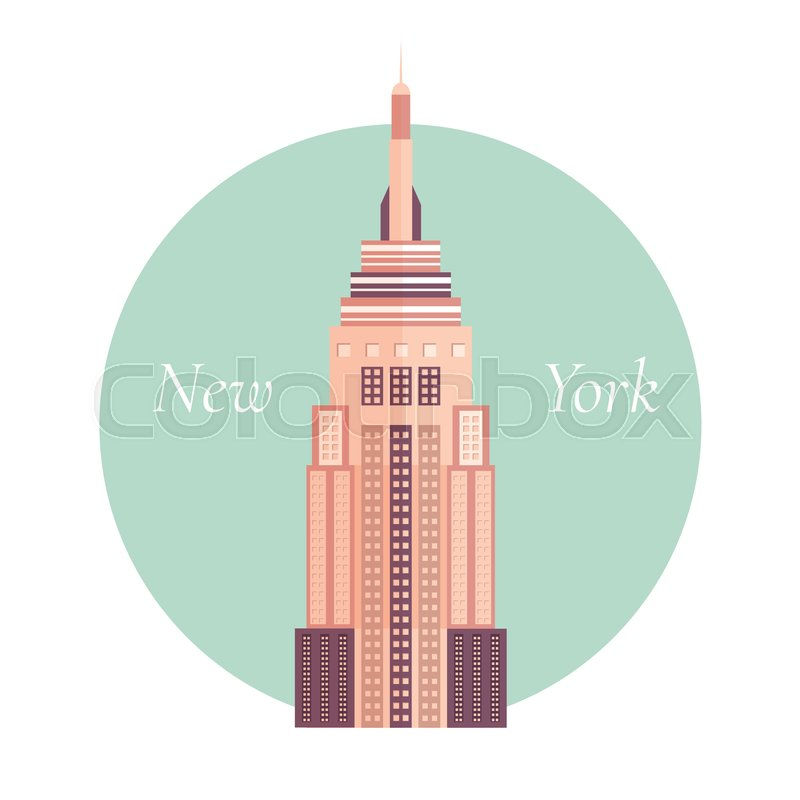 800x800 Vector Illustration Of Empire State Building In New York Stock