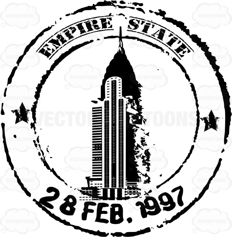 782x800 Empire State Building Black And White Travel Rubber Stamp