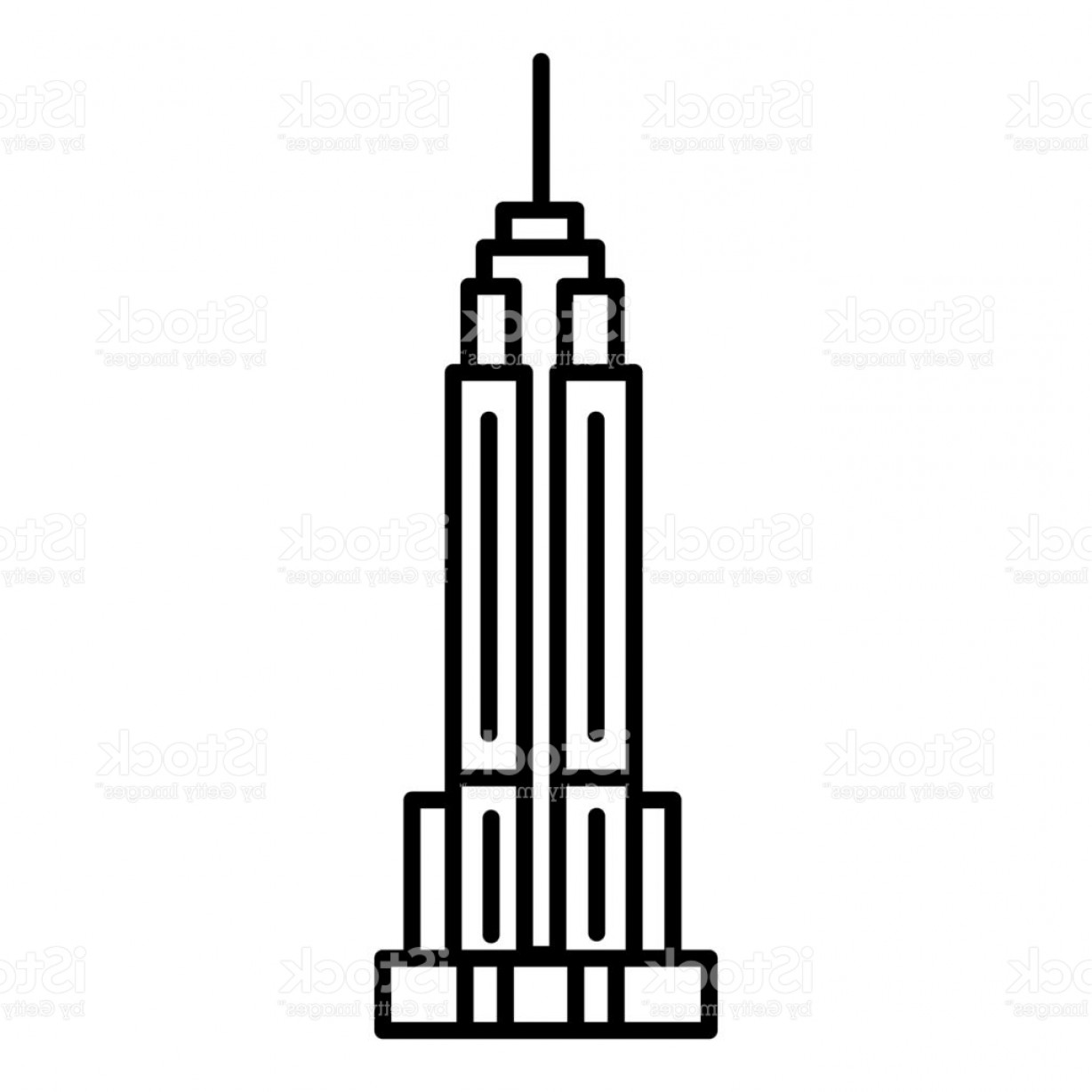 1228x1228 Empire State Building Vector Line Icon Sign Illustration On