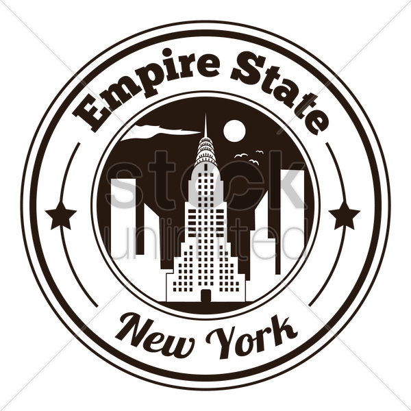 600x600 Empire State Label Vector Image