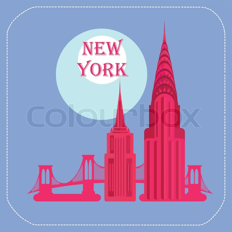 800x800 New York Empire State Building Chrysler Building Icon Flat Stock