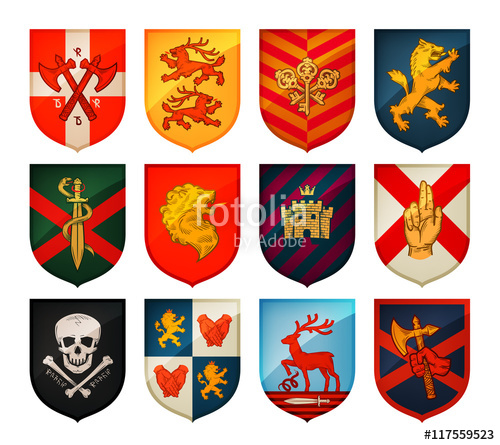 500x445 Collection Of Medieval Shields And Coat Arms. Kingdom, Empire