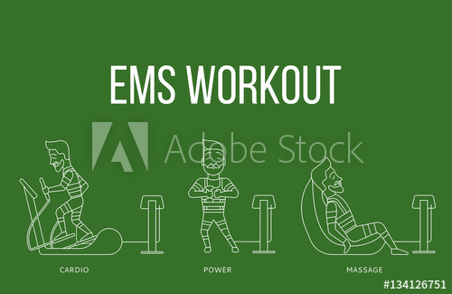 500x325 Ems Workout Stages. Electric Muscular Stimulating Fitness Vector