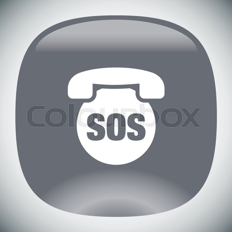 800x800 Sos Phone Vector Icon. Emergency Contact Sign. Ems Cell Service