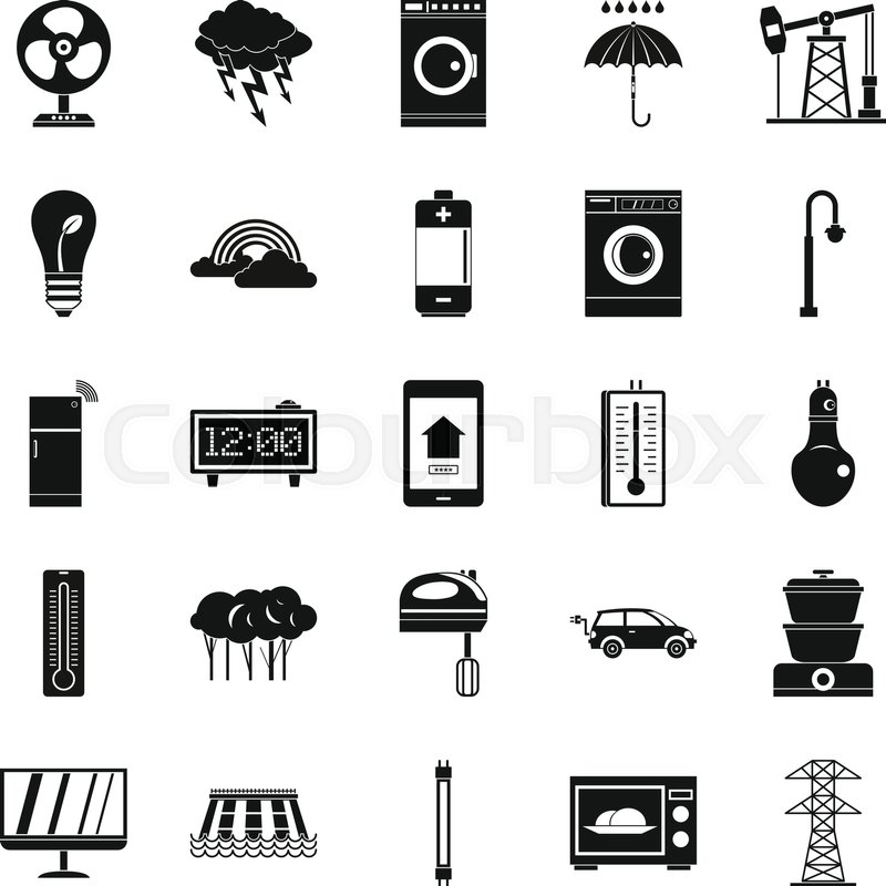 800x800 Electrical Energy Icons Set. Simple Set Of 25 Electrical Energy