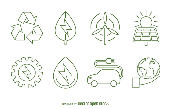 602x385 Ecology And Renewable Energy Icon Set Free Vector Download 365041