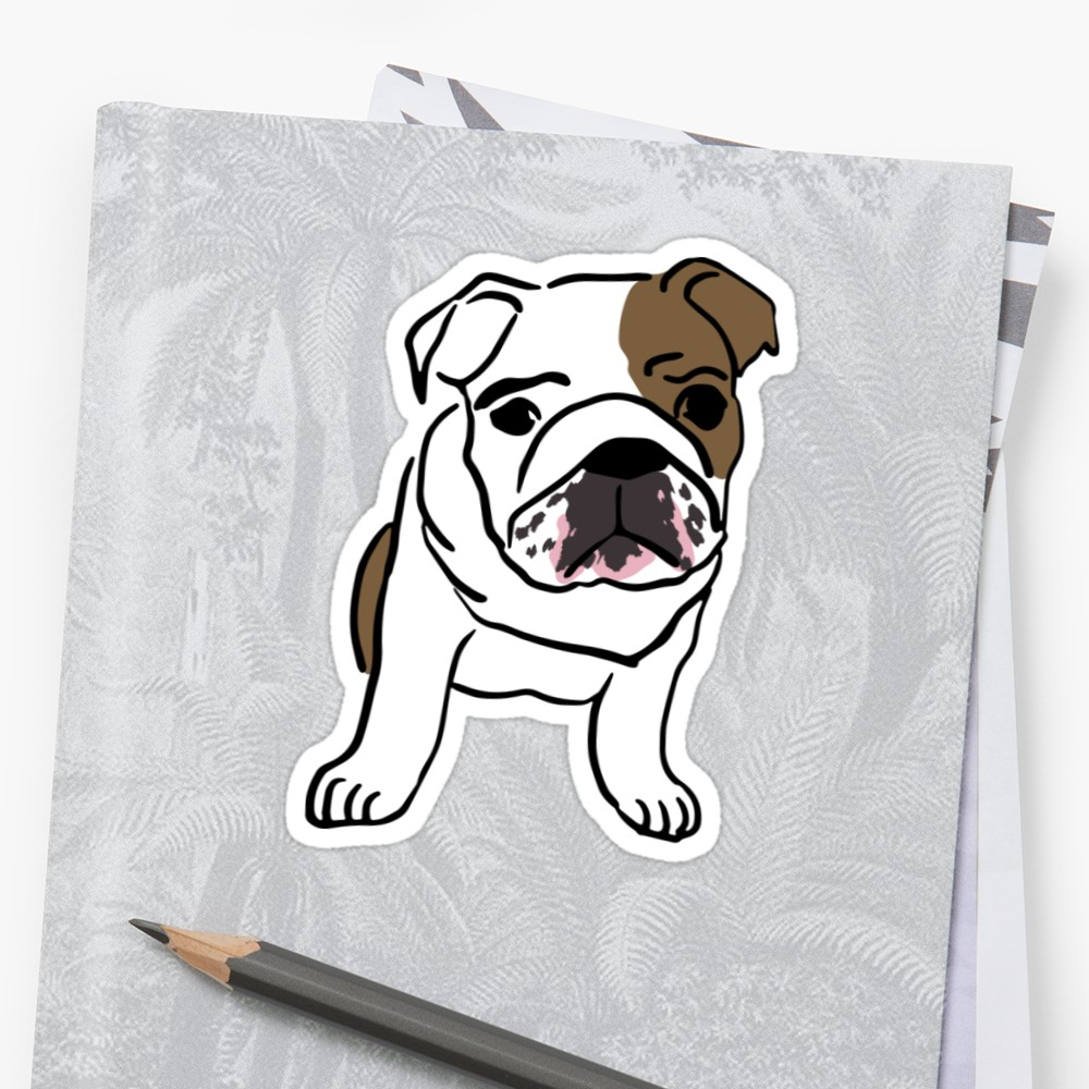 1000x1000 English Bulldog Vector Illustration Stickers By Ariahart Redbubble