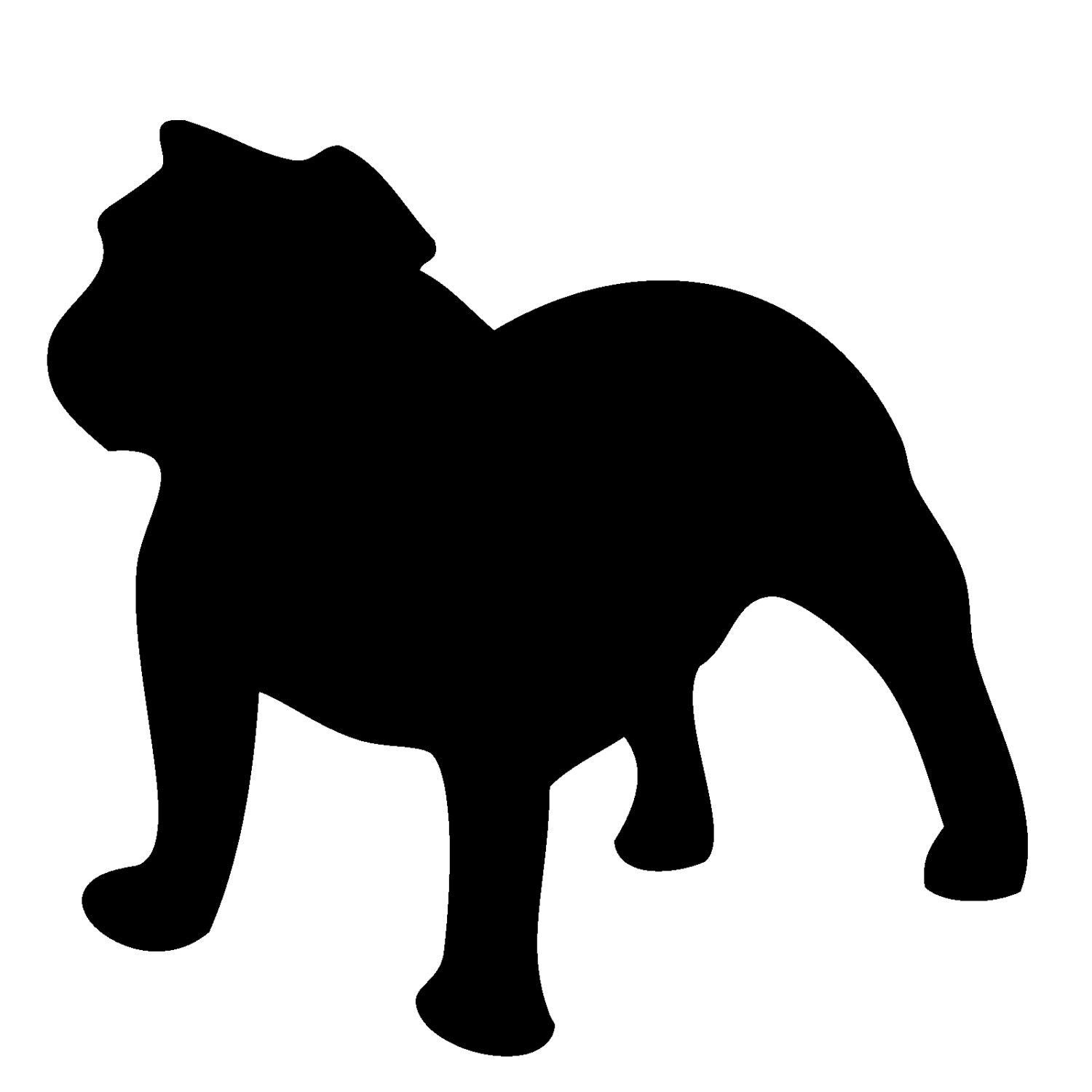 1500x1500 English Bulldog Clipart Silhouette