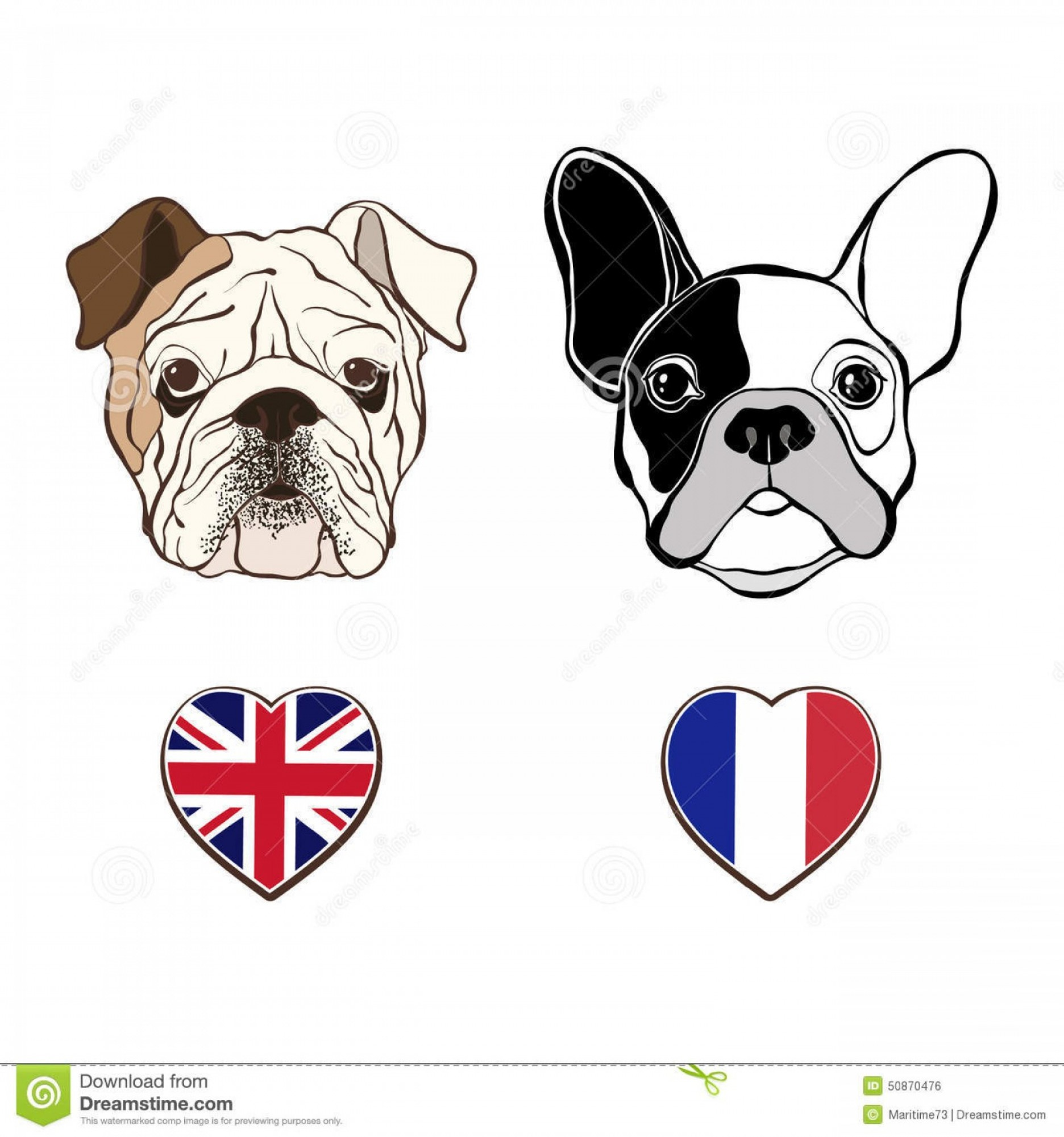 1872x2001 Stock Illustration English Bulldog Face French Bulldog Face Heart