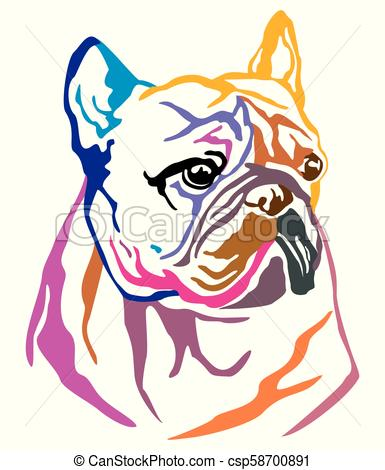 385x470 Colorful Decorative Portrait Of Dog French Bulldog Vector
