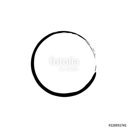 500x500 Black Enso Zen Circle On White Background. Vector Illustration