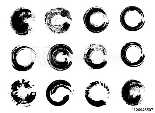 500x364 Set Of Black Grunge Circle Stains. Vector Illustration. Hand Drawn