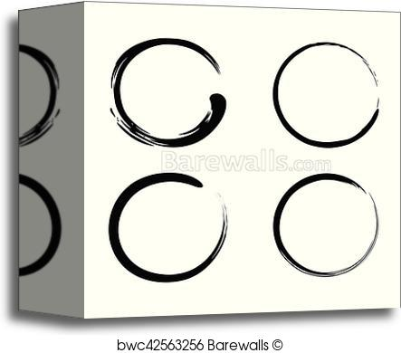 443x390 Canvas Print Of Enso Zen Brush Strokes Black Ink Vector Set
