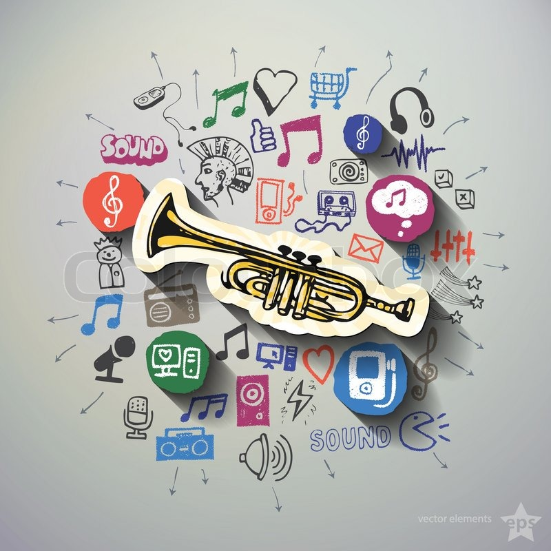 800x800 Music And Entertainment Collage With Icons Background. Vector