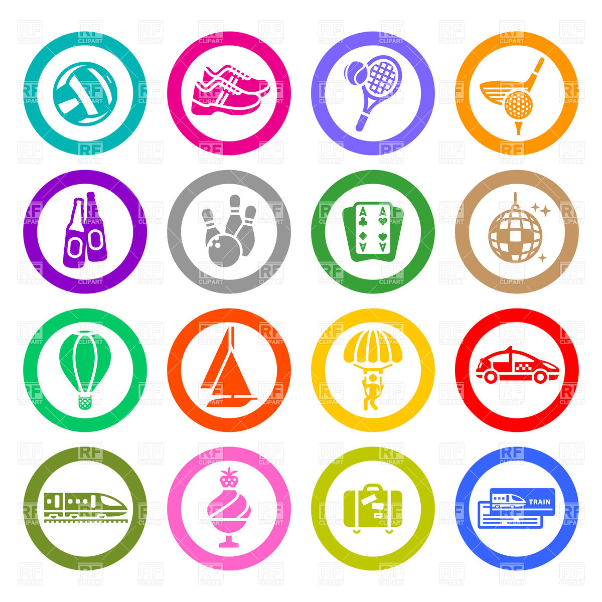 1200x1200 Sport, Recreation And Entertainment Icons Set Vector Image