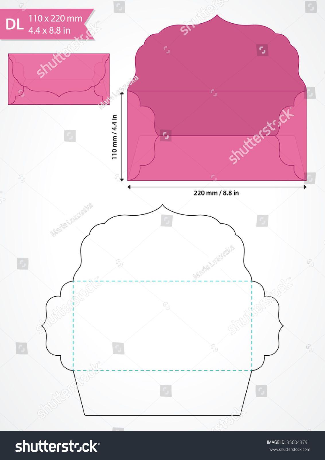 1133x1600 Die Cut Vector Envelope Template With Swirly Flap. Kaarten