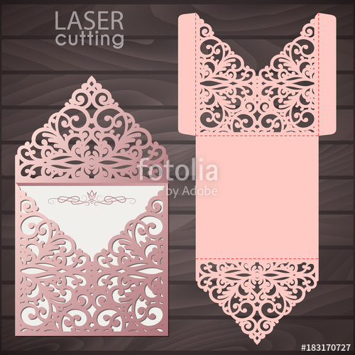 500x500 Laser Cut Wedding Invitation Envelope Template Vector. Wedding