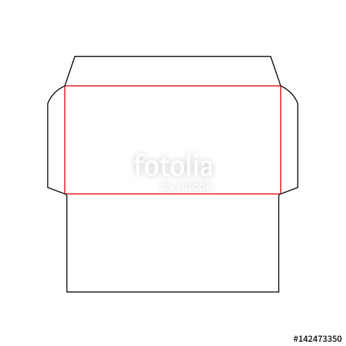 500x500 The Envelope Dl Size Die Cut Template. Stamp. Vector Black