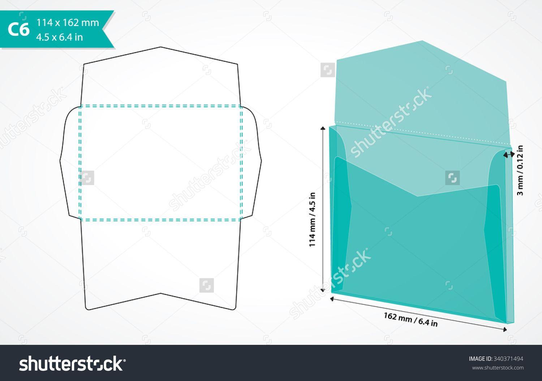 1500x1054 C6 Envelope Template Vector. Die Cut Envelope Mockup. Paper Craft