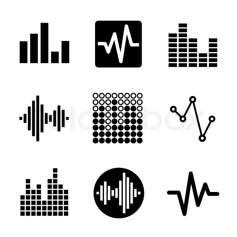 800x800 Music Soundwave Equalizer Graphics Icons Set. Vector. Stock