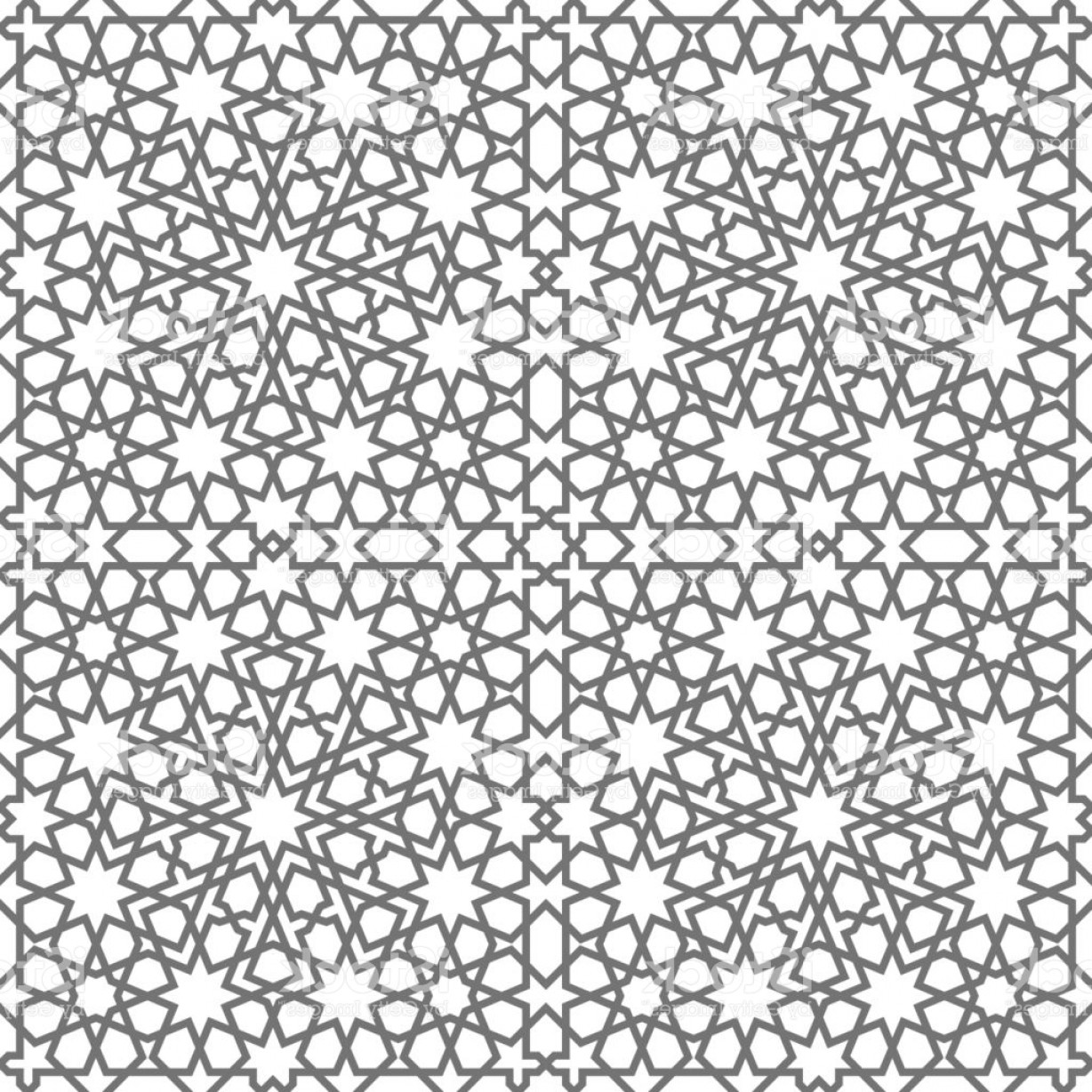 1228x1228 Islamic Seamless Vector Pattern Geometric Ornaments Based On