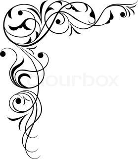 279x320 Black Corner Borders Element For Design, Corner Flower, Vector