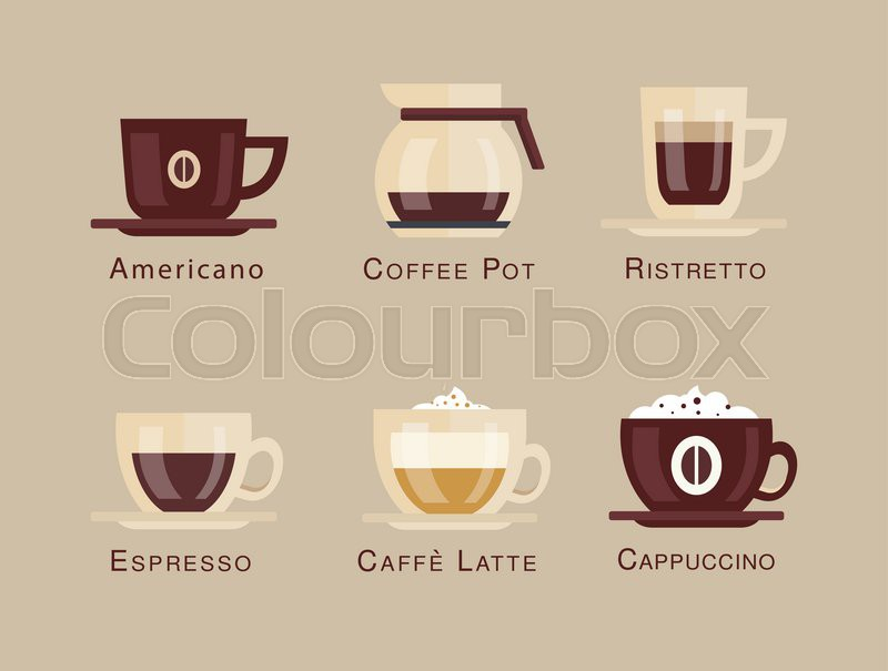 800x605 Coffee Vector Icon Set Menu Coffee Beverages Types And Preparation