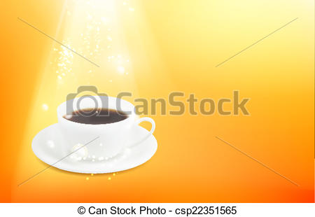 450x310 Cup Of Espresso. Orange Background With A Cup Of Espresso. Vector