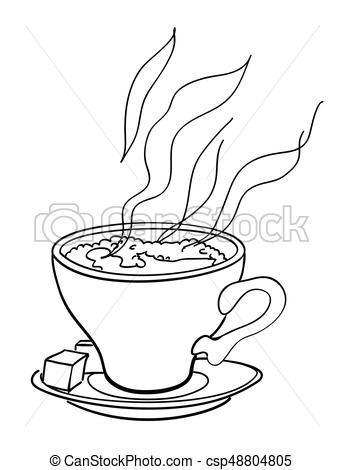 344x470 Cartoon Image Of Espresso. An Artistic Freehand Picture.