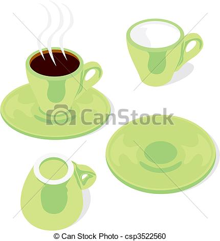 430x470 Fully Editable Vector Illustration Of Espresso Cups And... Vector