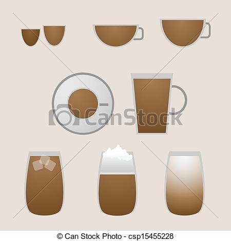 450x470 Variety Coffee Drinks With Espresso, Stock Vector.