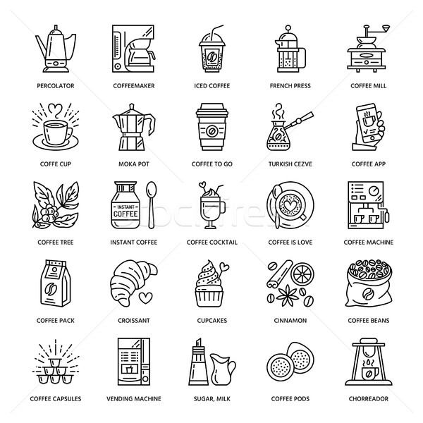 600x600 Vector Line Icons Of Coffee Making Equipment. Elements