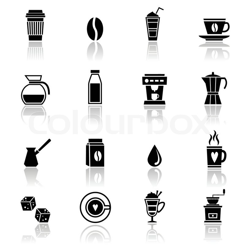 800x800 Coffee Espresso Cappuccino Frappe Black Icons Set With Restaurant