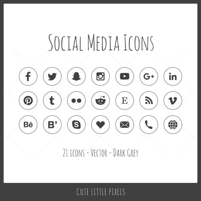 642x642 Vector Social Media Icons 21 Icons Dark Gray Outline Style Etsy