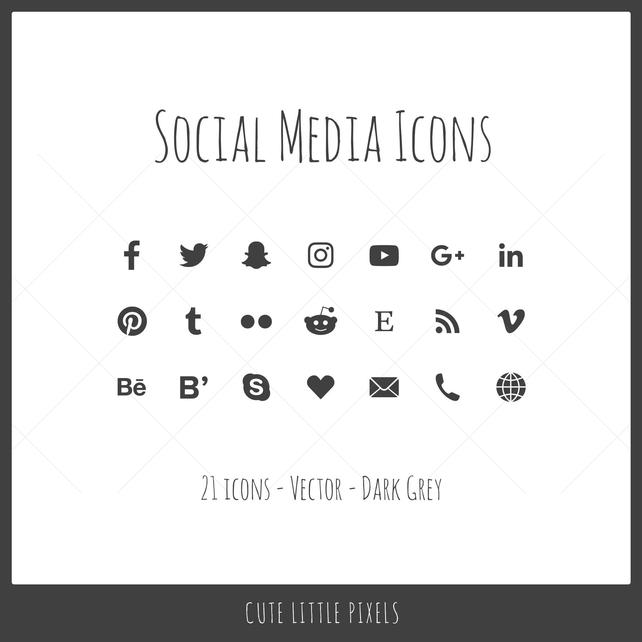 642x642 Vector Social Media Icons 21 Icons Dark Gray Solid Icon Etsy