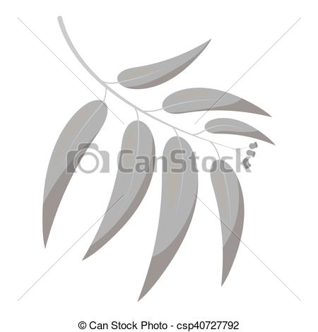 450x470 Eucalyptus Vector Icon In Monochrome Style For Web. Eucalyptus