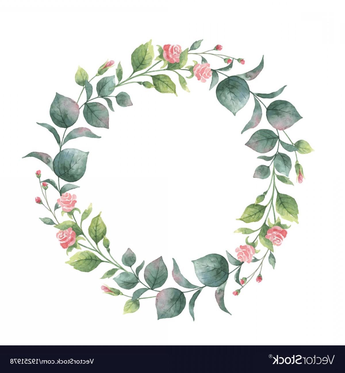1200x1296 Watercolor Round Wreath With Eucalyptus Vector Shopatcloth