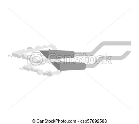 450x400 Exhaust Pipe Bike Isolated. Motorcycle Part. Vector Illustration.