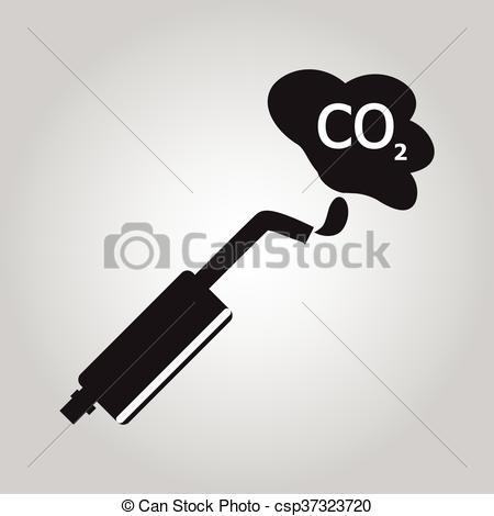 450x470 Car Exhaust Smoke Sign Vector Illustration.