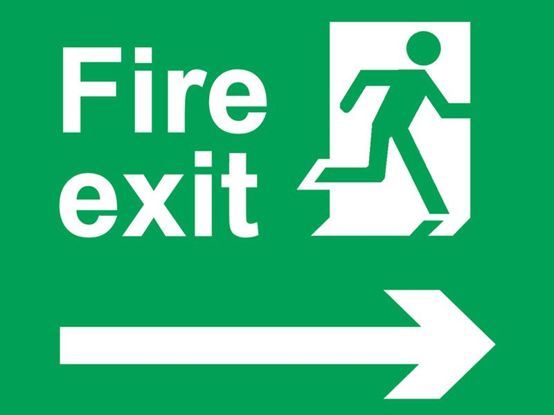 800x600 Fire Exit Sign Running Man Arrow Diagonally Up Left Safety Signs