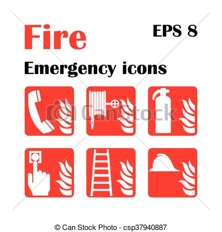 450x470 Fire Emergency Icons. Vector Illustration. Fire Exit. Vector Fire