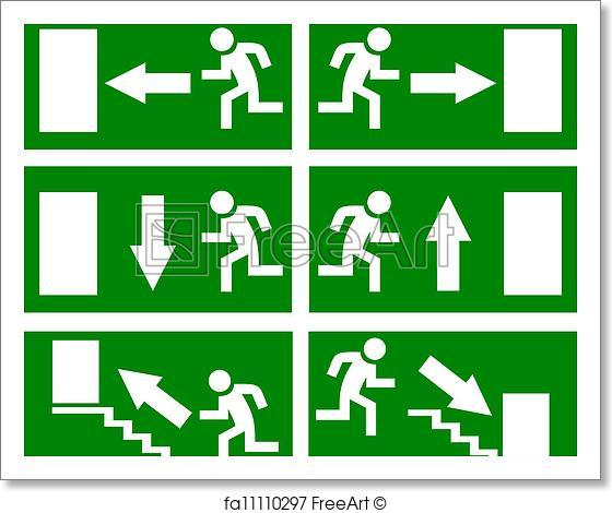 560x470 Free Art Print Of Vector Emergency Exit Signs. Vector Emergency