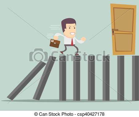 450x379 Man Run To Exit . Stock Vector Illustration.