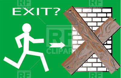 400x258 No Exit Concept With Running Man And Closed Door Vector Image