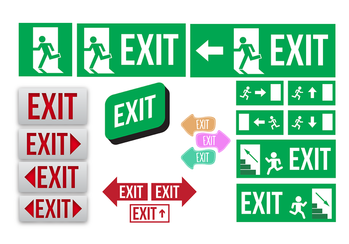 700x490 Emergency Exit Sign Collection Vector