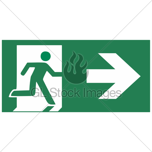 500x500 Emergency Exit Sign Right Emergeny Exit Vector Illustration Gl